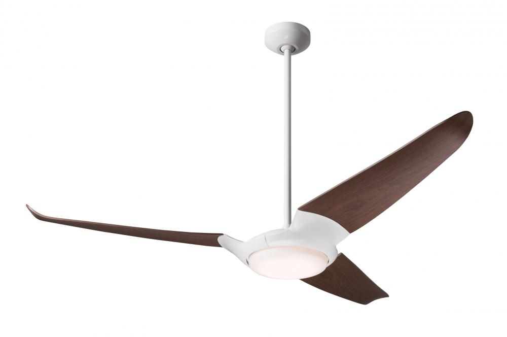 "IC/Air (3 Blade) Fan; Gloss White Finish; 56"" Mahogany Blades; 20W LED; Wall/Remote Combo Contro"